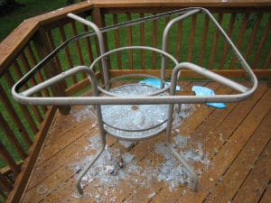 broken patio glass table