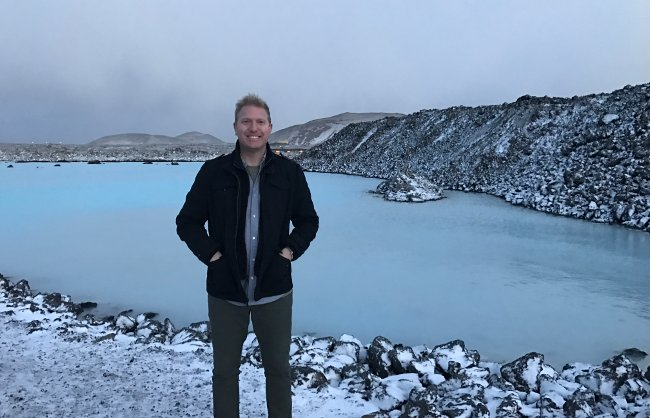 dj paris outside the blue lagoon in iceland