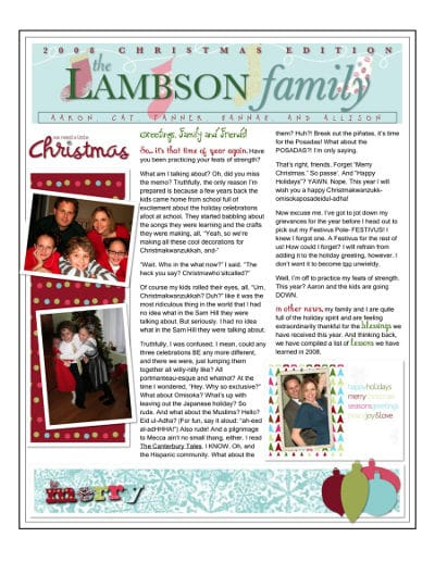 holiday family letter